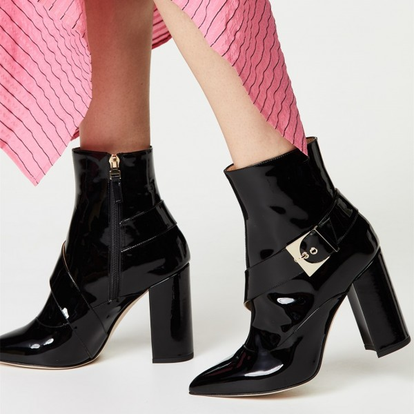 Black Patent Leather Buckle Ankle Booties Chunky Heel Boots with Zip image 1