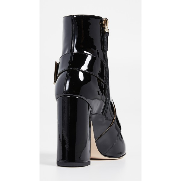 Black Patent Leather Buckle Ankle Booties Chunky Heel Boots with Zip image 4