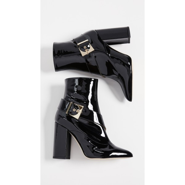 Black Patent Leather Buckle Ankle Booties Chunky Heel Boots with Zip image 5