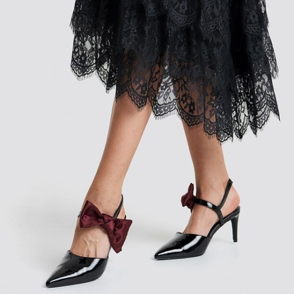 Black Patent Leather Burgundy Bow Slingback Heels Pumps image 1