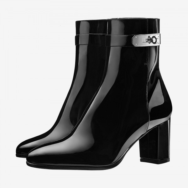 Black Patent Leather Chunky Heel Boots Round Toe Lock Ankle Booties image 1