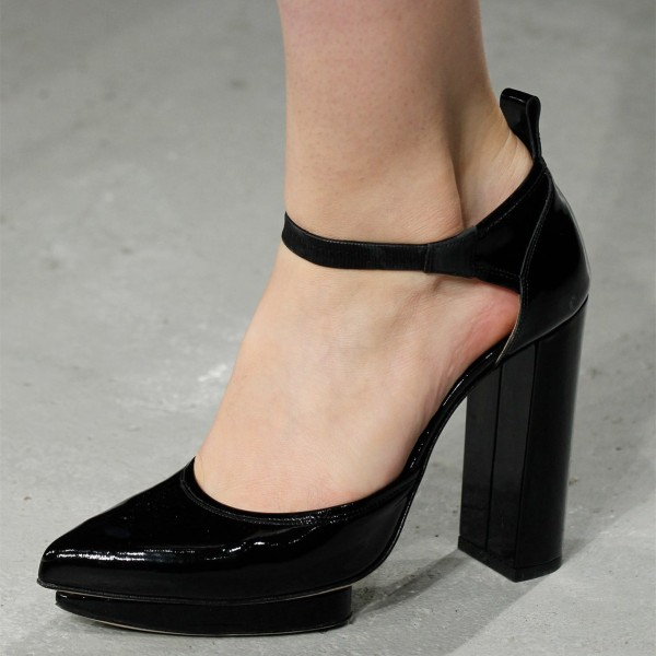 Black Patent Leather Chunky Heels Ankle