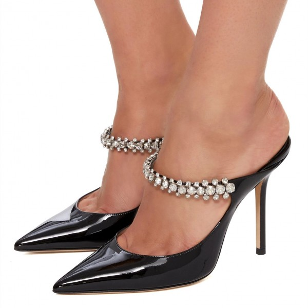 Black Crystal Embellished Stiletto Heel Mules image 1