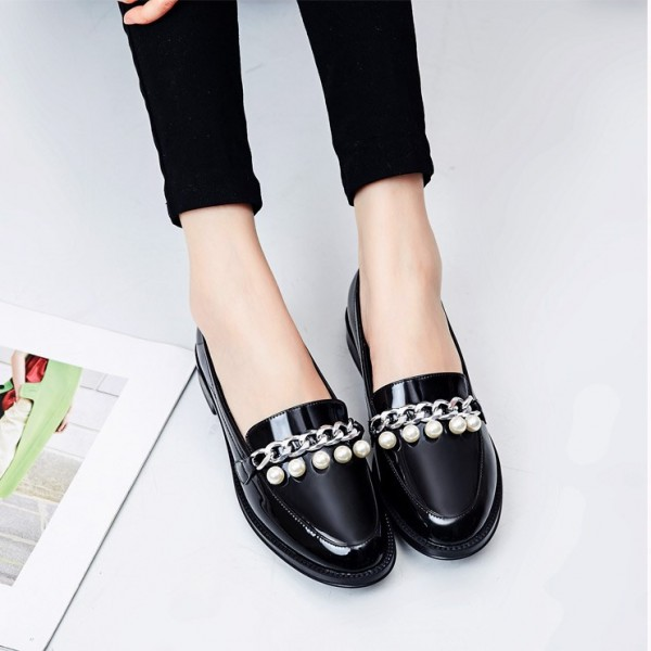 Black Patent Leather Pearls Loafers for Women Vintage Shoes image 3