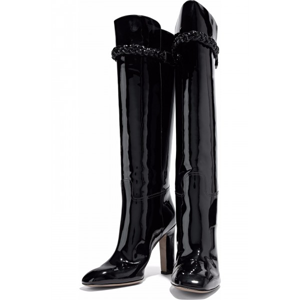 Black Patent Leather High Heel Boots