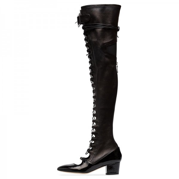 Black Patent Leather Lace Up Boots Over The Knee Boots image 2
