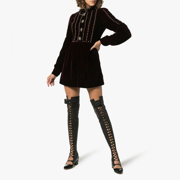Black Patent Leather Lace Up Boots Over The Knee Boots image 3