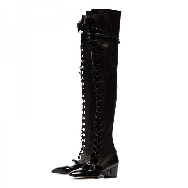Black Patent Leather Lace Up Boots Over The Knee Boots image 1