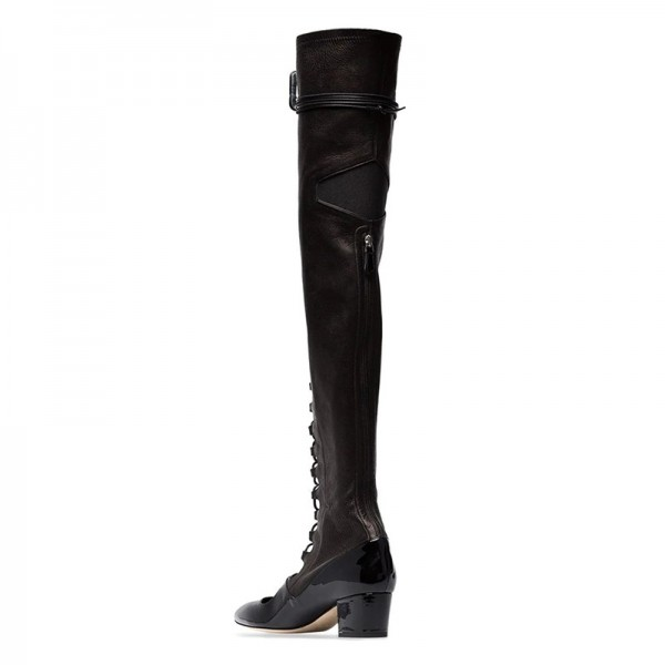 Black Patent Leather Lace Up Boots Over The Knee Boots image 5