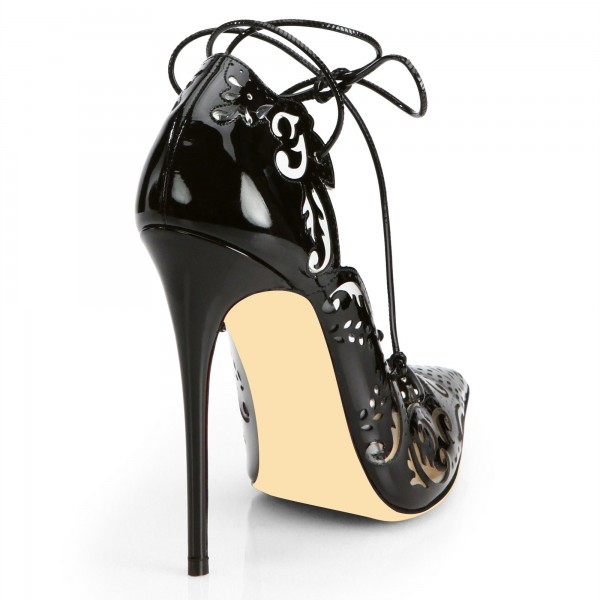 Black Patent Leather Hollow Out Strappy Heels Pumps image 2