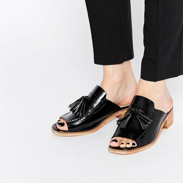 Black Patent Leather Loafer Mules Open