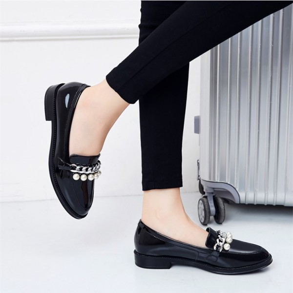 Black Patent Leather Pearls Loafers for Women Vintage Shoes image 4