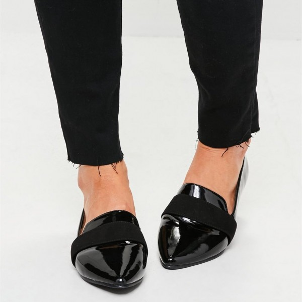 Black Patent leather Loafers for Women Almond Toe Flats image 4