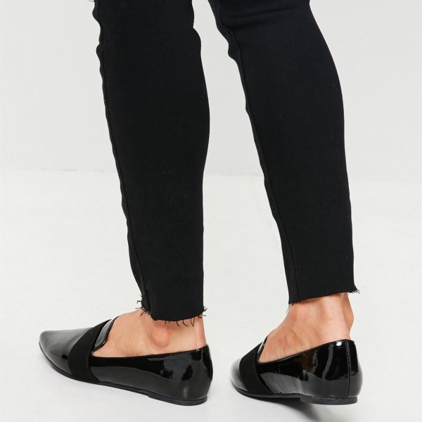 Black Patent leather Loafers for Women Almond Toe Flats image 2