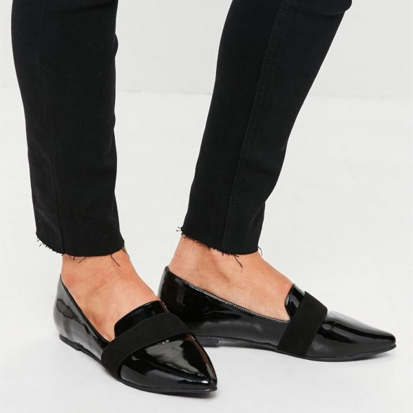 Black Patent leather Loafers for Women Almond Toe Flats image 3