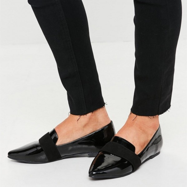 Black Patent leather Loafers for Women Almond Toe Flats image 1