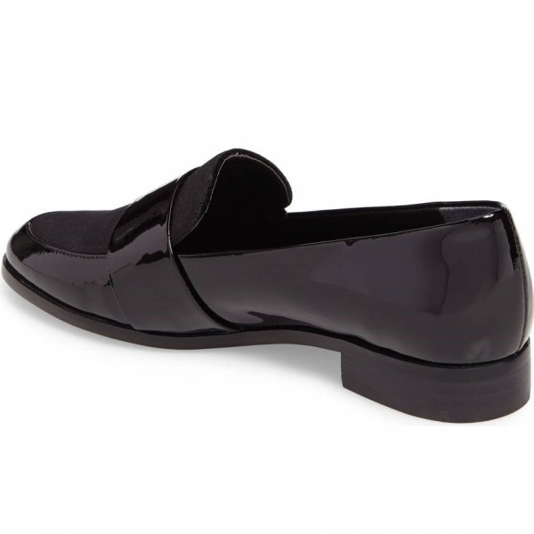 Black Patent Leather Loafers for Women Round Toe Flats image 2