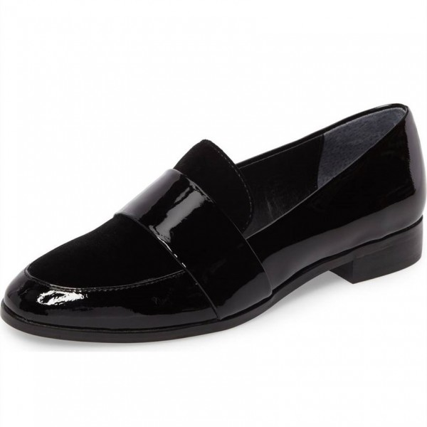 Black Patent Leather Loafers for Women Round Toe Flats image 1
