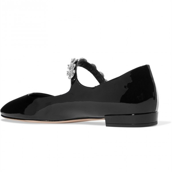 Black Patent Leather Low Heel Crystal Decorated Mary Jane Pumps image 2