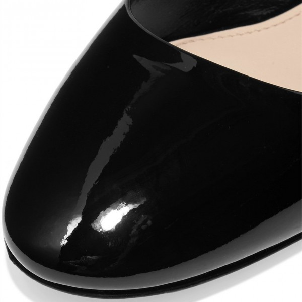 Black Patent Leather Low Heel Crystal Decorated Mary Jane Pumps image 4