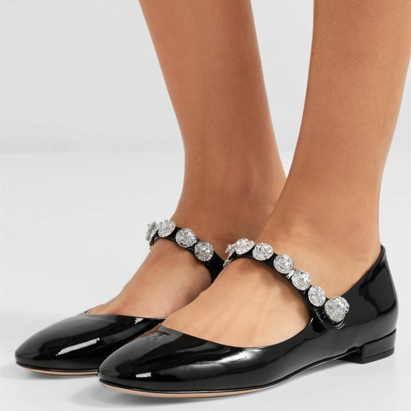 Black Patent Leather Low Heel Crystal Decorated Mary Jane Pumps image 1