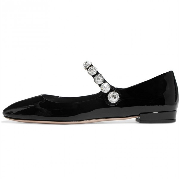 Black Patent Leather Low Heel Crystal Decorated Mary Jane Pumps image 5