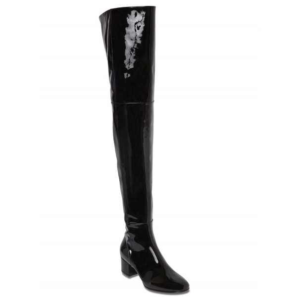 Black Patent Leather Long Boots Chunky Heels Over-the-knee Boots image 6