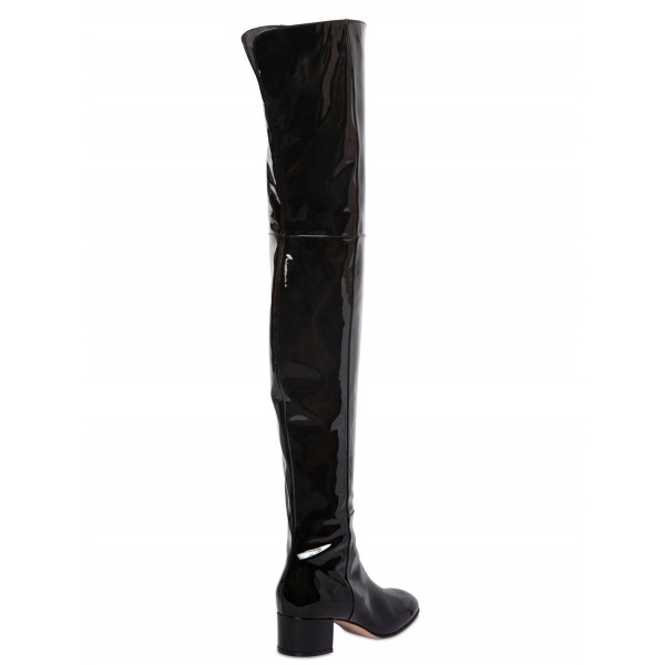 Black Patent Leather Long Boots Chunky Heels Over-the-knee Boots image 4