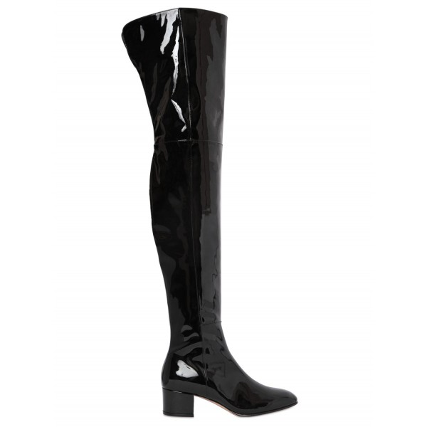 Black Patent Leather Long Boots Chunky Heels Over-the-knee Boots image 5