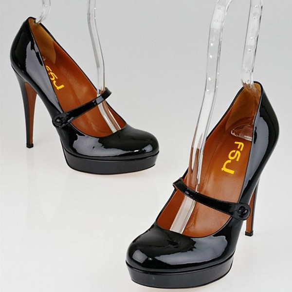 Women's Black Mary Jane Pumps Stiletto Heels Vintag Platform Pumps image 6