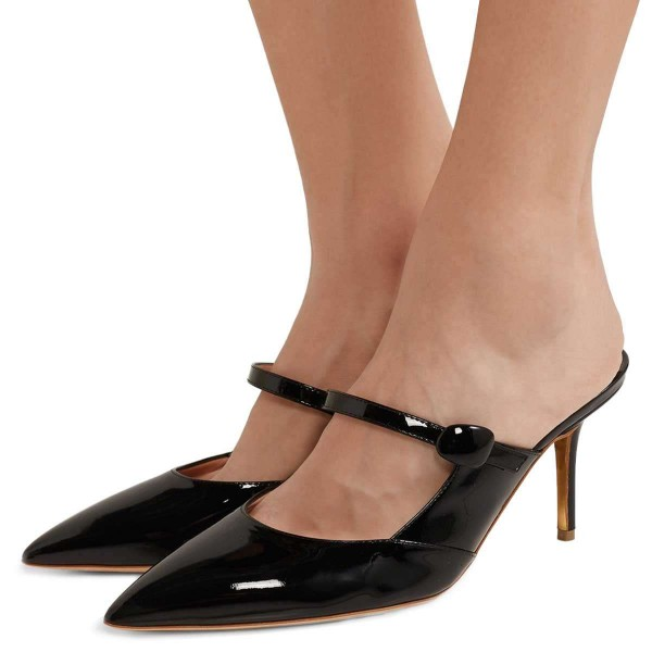 0c9278841e81f Black Patent Leather Mary Jane Style Stiletto Heel Mules for Date ...
