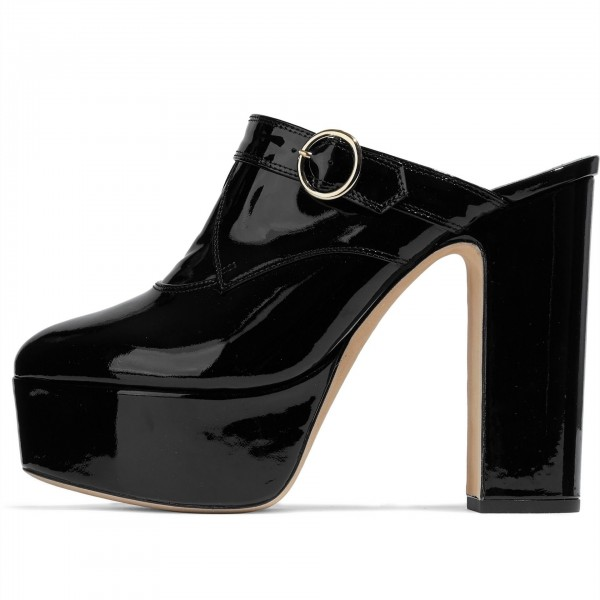 Black Patent Leather Mule Heels Chunky Heels Platform Sandals image 1