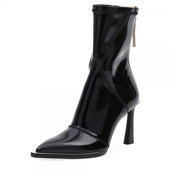 Black Patent Leather Pointy Toe Chunky Heel Women's Ankle Boots image 1