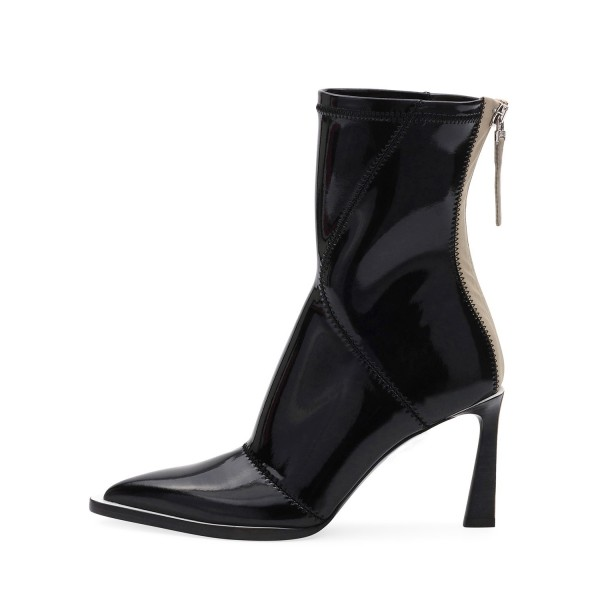 Black Patent Leather Pointy Toe Chunky Heel Women's Ankle Boots image 2