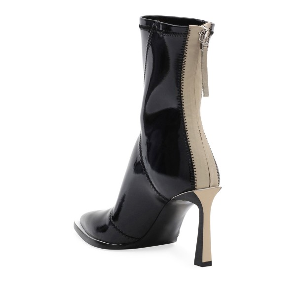 Black Patent Leather Pointy Toe Chunky Heel Women's Ankle Boots image 3
