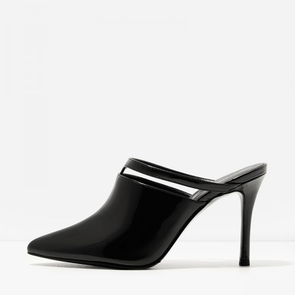 Black Patent Leather Pointy Toe Cut out Stiletto Heels Mule image 1