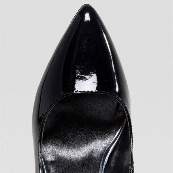 Black Patent Leather Pointy Toe Stiletto Heel Mary Jane Pumps image 2