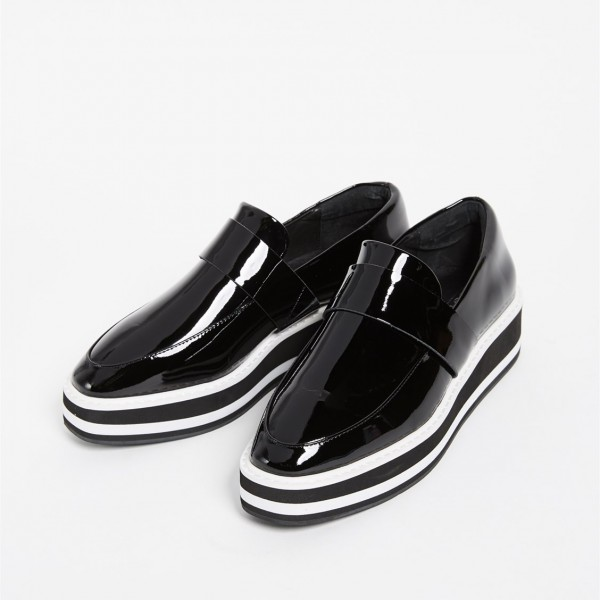 Black Patent Leather Round Toe Platform Loafers for Women image 2
