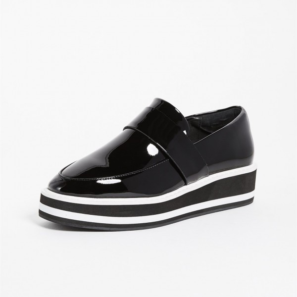 Black Patent Leather Round Toe Platform Loafers for Women image 3