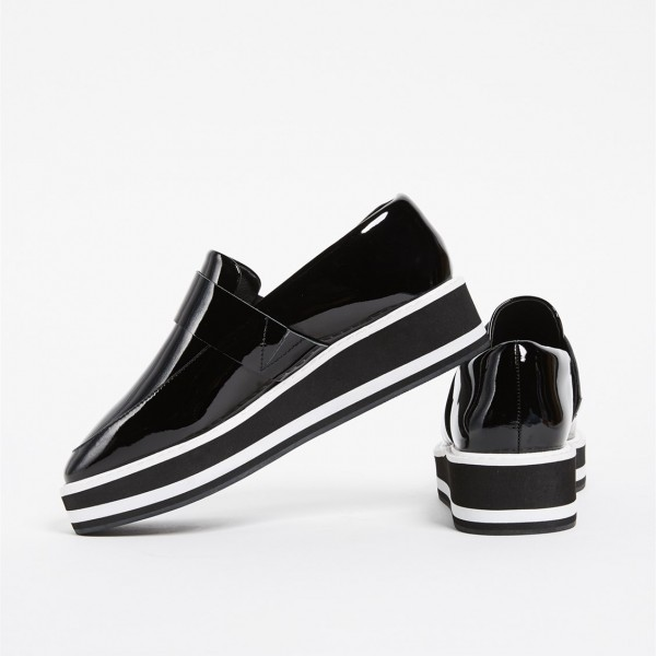Black Patent Leather Round Toe Platform Loafers for Women image 4