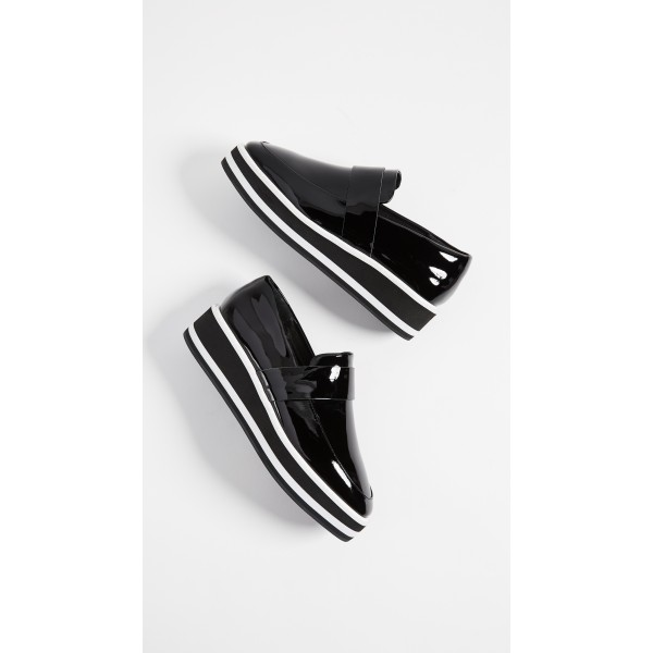 Black Patent Leather Round Toe Platform Loafers for Women image 5