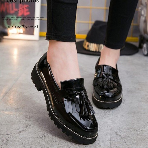 Black Patent Leather Square Toe Fringe and Tassel Loafers for Women image 5