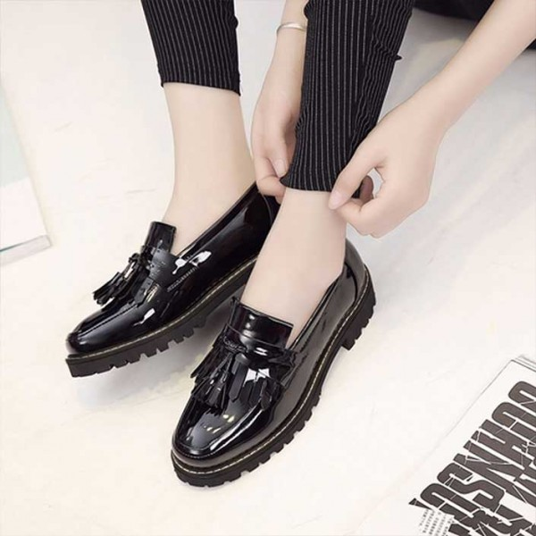 Black Patent Leather Square Toe Fringe and Tassel Loafers for Women image 2