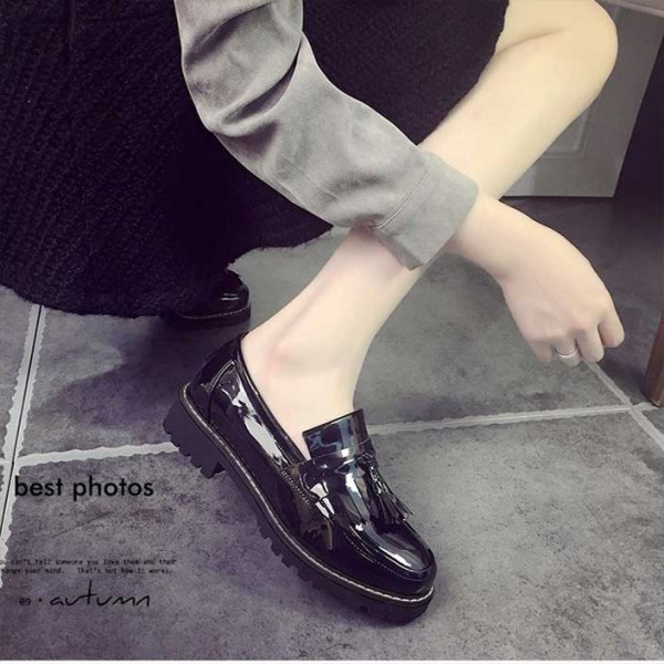 Black Patent Leather Square Toe Fringe and Tassel Loafers for Women image 4