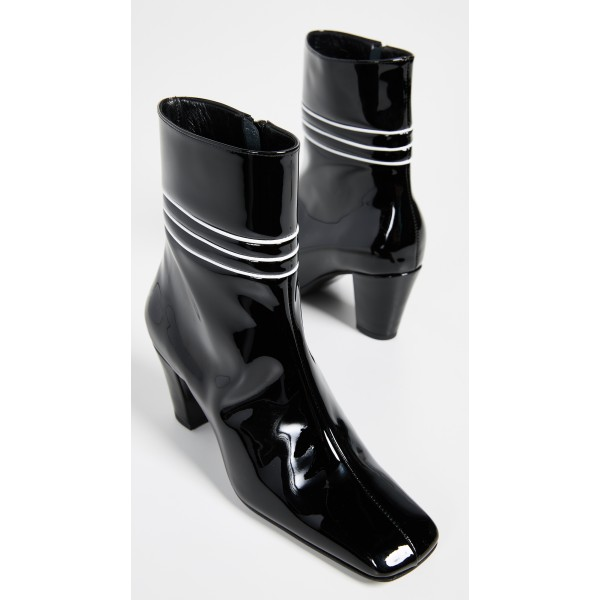 Black Patent Leather Square Toe Chunky Heels Zipper Ankle Booties image 3