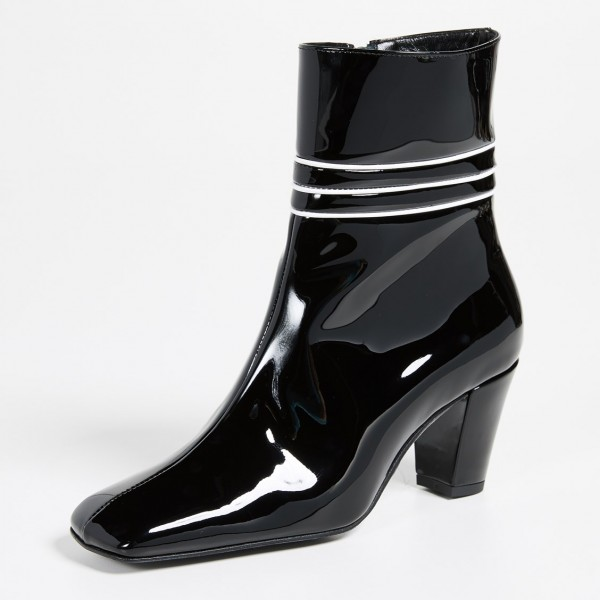 Black Patent Leather Square Toe Chunky Heels Zipper Ankle Booties image 2