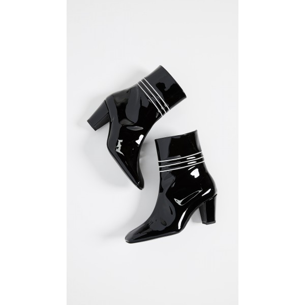 Black Patent Leather Square Toe Chunky Heels Zipper Ankle Booties image 5