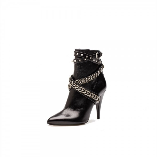 Black Stiletto Heels Pointy Toe Studs Ankle Booties  image 1