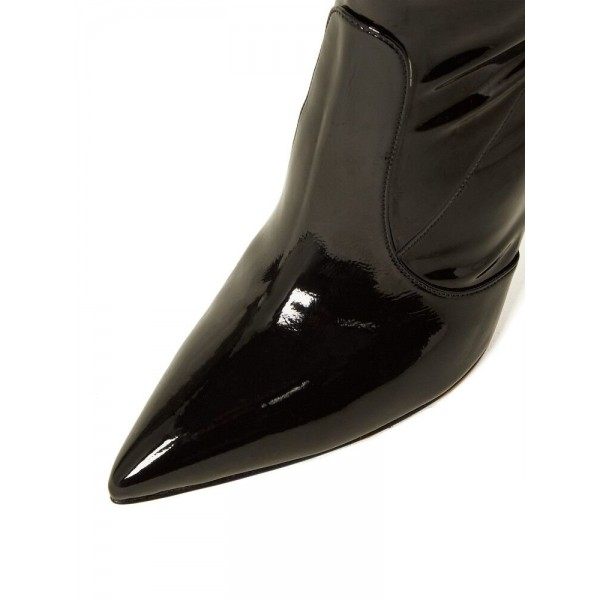 Black Patent Leather Thigh High Heel Boots Stiletto Heel Boots image 2