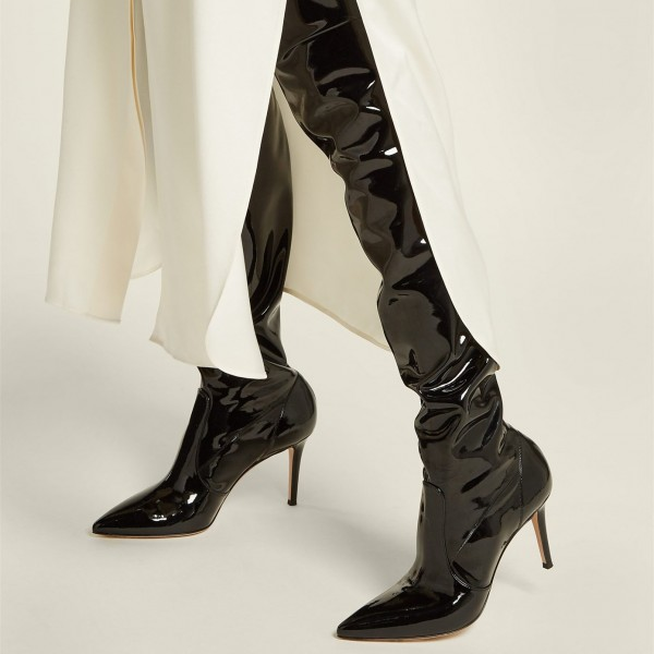 Black Patent Leather Thigh High Heel Boots Stiletto Heel Boots image 1